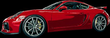 Τέχνη κινούμενων σχεδίων της Porsche Cayman GT4 διανυσματική απεικόνιση