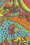 Τέχνη με το λουλούδι και το τοπίο doodle - εγκαταστάσεις και ουρανός Στοκ Εικόνες