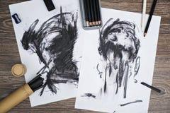 Τέχνη ξυλάνθρακα Στοκ εικόνα με δικαίωμα ελεύθερης χρήσης
