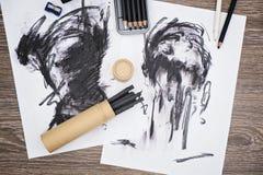 Τέχνη ξυλάνθρακα Στοκ Εικόνες