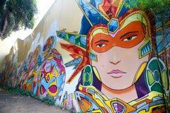 Τέχνη οδών της Σιγκαπούρης με τον τοίχο γκράφιτι Στοκ Εικόνα
