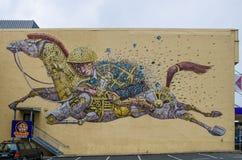 Τέχνη οδών που χρωματίζεται από το εικονοκύτταρο Pancho από την Ιταλία που βρίσκεται σε Dunedin, Νέα Ζηλανδία Στοκ φωτογραφία με δικαίωμα ελεύθερης χρήσης
