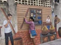 Τέχνη οδών στον τοίχο σε Songkhla Ταϊλάνδη Στοκ Φωτογραφία
