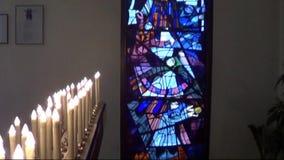 Τέχνη παραθύρων εκκλησιών architectur που χτίζει απόθεμα βίντεο