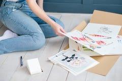 Τέχνη που χρωματίζει τη δημιουργική συλλογή σχεδίων τρόπου ζωής Στοκ Εικόνες