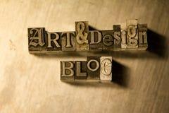 Τέχνη & σχέδιο blog - letterpress μετάλλων γράφοντας σημάδι Στοκ εικόνες με δικαίωμα ελεύθερης χρήσης
