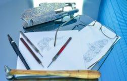 Τέχνη σχεδίων και χάραξης Στοκ φωτογραφία με δικαίωμα ελεύθερης χρήσης