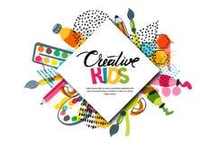 Τέχνη τέχνης παιδιών, εκπαίδευση, κατηγορία δημιουργικότητας Διανυσματικό έμβλημα, αφίσα με το άσπρο τετραγωνικό υπόβαθρο εγγράφο απεικόνιση αποθεμάτων