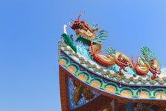 Τέχνη της κινεζικής στέγης ναών Στοκ Εικόνες