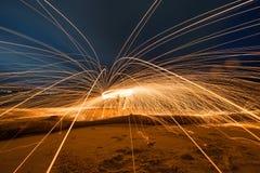Τέχνη της περιστροφής του μαλλιού χάλυβα, φως Absrtact Στοκ Φωτογραφία