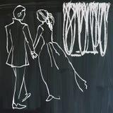 Τέχνη της τέχνης γραμμών - εραστές Στοκ Φωτογραφίες