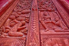 Τέχνη της ταϊλανδικής πύλης ναών Στοκ Εικόνες