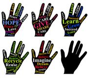 τέχνη ως ανθρώπινες κινητήριες λέξεις χεριών Στοκ Εικόνα