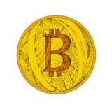 Τέχνη Doodle Bitcoin Στοκ Εικόνες