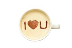 Τέχνη Latte - απομονωμένο φλιτζάνι του καφέ με «σ' αγαπώ» Στοκ φωτογραφίες με δικαίωμα ελεύθερης χρήσης
