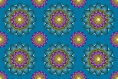 Τέχνη Mandala, άνευ ραφής αφηρημένο BA ταπετσαριών λουλουδιών καλειδοσκόπιων διανυσματική απεικόνιση