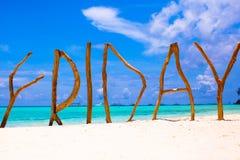 Τέλεια άσπρη αμμώδης παραλία και τυρκουάζ θάλασσα επάνω στοκ εικόνες