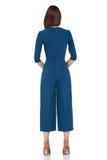 Τέλεια ένδυση μπλε π τρίχας brunette μορφής σωμάτων γυναικών ύφους μόδας Στοκ Φωτογραφίες