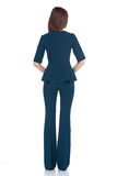 Τέλεια ένδυση μπλε π τρίχας brunette μορφής σωμάτων γυναικών ύφους μόδας Στοκ Φωτογραφία