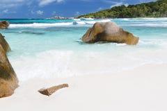 Τέλεια παραλία, Λα Digue, Σεϋχέλλες Στοκ εικόνες με δικαίωμα ελεύθερης χρήσης