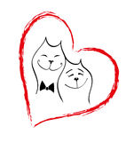 τέλειος βαλεντίνος αγάπης σχεδίων ημέρας γατών Στοκ Εικόνες