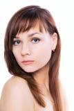 Τέλειο λευκό σωμάτων προσώπου φροντίδας δέρματος γυναικών brunette Στοκ εικόνα με δικαίωμα ελεύθερης χρήσης