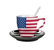 Τέλειο σημαιοστολισμένο οι ΗΠΑ φλυτζάνι καφέ ή τσαγιού με το κουτάλι Στοκ φωτογραφία με δικαίωμα ελεύθερης χρήσης