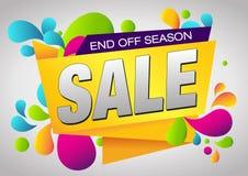 Τέλος πώλησης από το έμβλημα εποχής Κάρτα θερινών πώλησης και εκκαθάρισης απεικόνιση αποθεμάτων