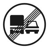 Τέλος της απαγόρευσης που προσπερνά για το εικονίδιο σημαδιών φορτηγών απεικόνιση αποθεμάτων