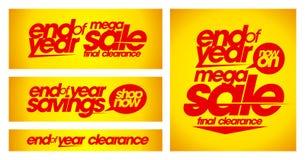 Τέλος των κίτρινων εμβλημάτων πώλησης έτους διανυσματική απεικόνιση