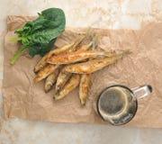 Τήξη ψαριών που τηγανίζονται και μπύρα σε χαρτί του Κραφτ Στοκ Εικόνες