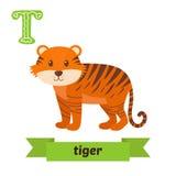 Τίγρη Επιστολή Τ Χαριτωμένο ζωικό αλφάβητο παιδιών στο διάνυσμα αστείος διανυσματική απεικόνιση