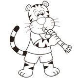 Τίγρη κινούμενων σχεδίων που παίζει ένα κλαρινέτο ελεύθερη απεικόνιση δικαιώματος