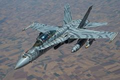 Τίγρη-ριγωτά φ-18 Hornet σε κλειστό σχηματισμό Στοκ εικόνα με δικαίωμα ελεύθερης χρήσης