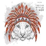 Τίγρη χρωματισμένο ινδικό roach Ινδικό φτερό headdress του αετού Το χέρι σύρει τη διανυσματική απεικόνιση Στοκ εικόνα με δικαίωμα ελεύθερης χρήσης