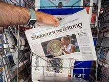 Τίτλος αντισφαίρισης νίκης της Angelique Kerber σε Wimbledon Στοκ φωτογραφία με δικαίωμα ελεύθερης χρήσης