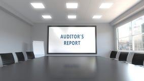 Τίτλος ΕΚΘΈΣΕΩΝ ΕΛΕΓΚΤΩΝ ` S στην οθόνη σε μια αίθουσα συνεδριάσεων τρισδιάστατη απόδοση Στοκ εικόνες με δικαίωμα ελεύθερης χρήσης