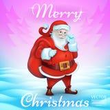 Τίτλος Χαρούμενα Χριστούγεννας στο κενό τρισδιάστατος ρεαλιστικός χαριτωμένος χαρακτήρας κινούμενων σχεδίων Άγιου Βασίλη Στοκ Φωτογραφία