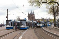 Τίτλος τραμ (τοπική μεταφορά μετρό) στον κεντρικό σταθμό του Άμστερνταμ Στοκ Φωτογραφίες