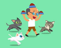 Ταΐζοντας γάτες ατόμων κινούμενων σχεδίων ανώτερες Στοκ φωτογραφία με δικαίωμα ελεύθερης χρήσης