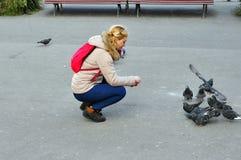 Ταΐζοντας περιστέρια Στοκ εικόνα με δικαίωμα ελεύθερης χρήσης