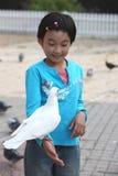 ταΐζοντας περιστέρι παιδιών Στοκ Φωτογραφία