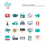 Ταινία, βίντεο, πυροβολισμός, έκδοση και περισσότεροι, επίπεδα εικονίδια καθορισμένα Στοκ Φωτογραφία