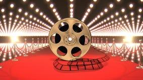 Ταινία κινηματογράφων στο κόκκινο χαλί με το βίντεο φω'των απόθεμα βίντεο