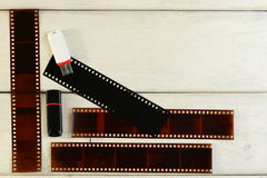 Ταινία φωτογραφιών αρνητική, usb-στιγμιαίος στοκ φωτογραφίες