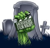 Ταινία Zombie φρίκης ή Clapper τεράτων σημάδι πινάκων Στοκ Εικόνα