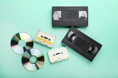 Ταινίες κασετών βίντεο και μουσικής Στοκ Εικόνες