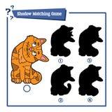 Ταιριάζοντας με παιχνίδι σκιών με τη γάτα κινούμενων σχεδίων Στοκ Εικόνες