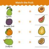 Ταιριάζοντας με παιχνίδι για τα παιδιά Ταιριάξτε με τα φρούτα Στοκ φωτογραφία με δικαίωμα ελεύθερης χρήσης