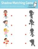 Ταιριάζοντας με παιχνίδι σκιών για τα παιδιά, διανυσματική απεικόνιση εκπαίδευσης Στοκ εικόνα με δικαίωμα ελεύθερης χρήσης